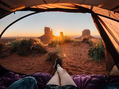 Picture of legs sticking out of a tent at Monument Valley Navajo Tribal Park, Arizona