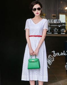 #VIPme White V Neck Short Sleeve Plain Swing Midi Dress ❤ Get more outfit ideas and style inspiration from fashion designers at VIPme.com.