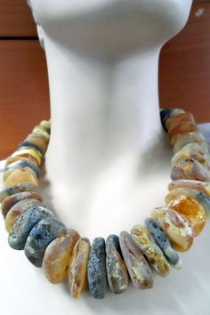 UNTREATED RAW GENUINE BALTIC AMBER UNIQUE ORGANIC NECKLACE #HandmadeinEurope #Statement