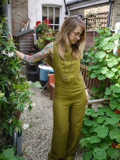 Olive Green Open Back Chic Linen by Clementinyclothing on Etsy, $100.00