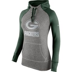 Nike Green Bay Packers Women's Charcoal Platinum All Time Performance Hoodie