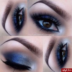 Beautiful Blue & Silver Shadow with Lashes