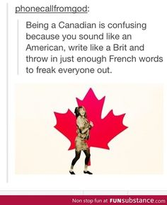 Nur klingen wir eher französisch und britisch als amerikanisch – Yes. Only we sound more French and British than American – Funny Quotes, Funny Memes, Hilarious, Funny Canadian Memes, Canadian Humour, Memes Humor, Ing Direct, Meanwhile In Canada, Canadian Things