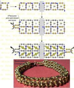 Схема плетения брастела из бисера