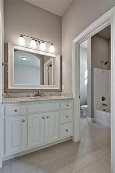 Traditional Full Bathroom with Cresta White 12 in. x 24 in. Glazed Porcelain Floor and Wall Tile, flush light, High ceiling