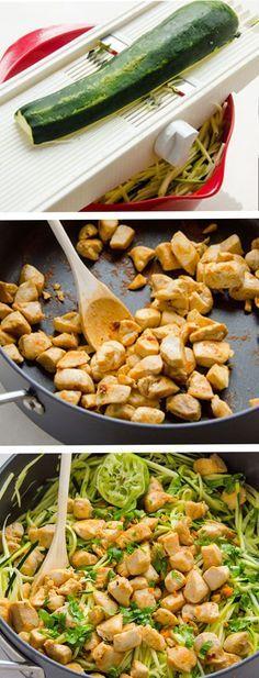 Zucchini Noodles with Cilantro Lime Chicken -- Delicious 20 minute healthy dinner idea #paleo #glutenfree #chicken