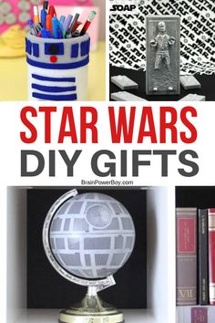 Star Wars Gifts That You Simply Must Make! Do not miss these DIY Star Wars gift ideas. They are great to make for your favorite Star Wars fan!Do not miss these DIY Star Wars gift ideas. They are great to make for your favorite Star Wars fan! Diy Gifts For Dad, Diy Gifts For Friends, Easy Diy Gifts, Diy Gifts Geek, Objet Star Wars, Regalos Star Wars, Diy Star, Star Wars Zimmer, Anniversaire Star Wars