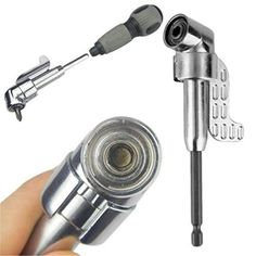 """1/4"""" Magnetic Angle Bit Driver Adapter Screwdriver 360 Degree Adjustable Thumb Flange Off-Set Power Head Power Drill Driver #Affiliate"""