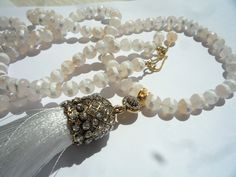 Gemstone necklace, Tassel necklace,Long necklace,White silk tassel pendant, Mala style necklace, Bohemian jewelry, White Agate necklace, Strand Necklace, Gemstone Necklace, Tassel Necklace, Beaded Bracelets, Necklaces, Turquoise Earrings, Gold Earrings, Mother Of Pearl Necklace, White Agate