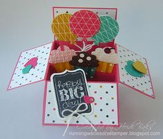 The Stamp Review Crew: Chalk Talk by RunningwScissorsStamper, A2 Size Pop-Up Card in a Box, Stampin' Up, Birthday
