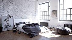 exposed-brick-scandinavian-bedroom-inspiration
