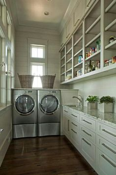 25 Dreamy Laundry Rooms - sunny, ceiling high storage