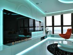 blaue indirekte led beleuchtung Home Interior, Interior Design, Living Room Lighting, Tv Unit, Home Theater, Luxury Living, Bathtub, Doors, Bathroom