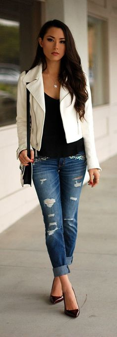 Ripped and Embroidered Denim , Heels , White Pop J...