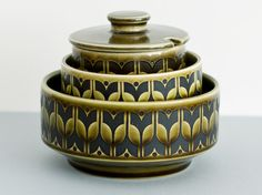 Green Hornsea Heirloom Trio - Jam/Suger Pot and Two Bowls