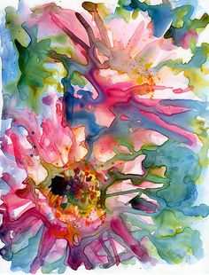 Cactus flowers watercolor on Yupo by Yevgenia Watts