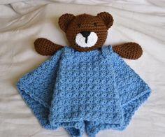 Crochet Lovey Security Blanket Buddy Bear by BitofWhimsyCrochet, $29.99