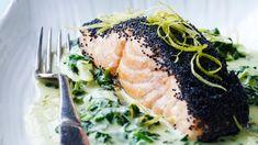 Salmon with spinach-lemon cream Quick Salmon Recipes, Broccoli, Shellfish Recipes, Lemon Cream, Mango Salsa, Fish Dishes, Plant Based Recipes, Cilantro, Sandwiches