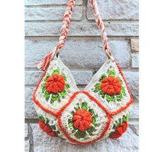 Handmade+Crochet+Bags | Handmade Orange Flowers Knitting crochet Bag / Cross Body Bag