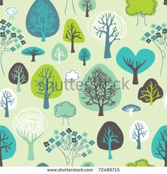 Seamless tree plant and flower pattern background in vector - stock vector