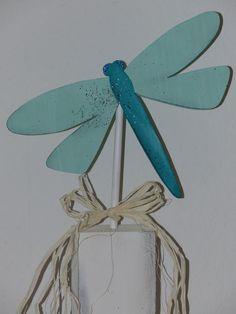 Holzpfosten Sommer Libelle