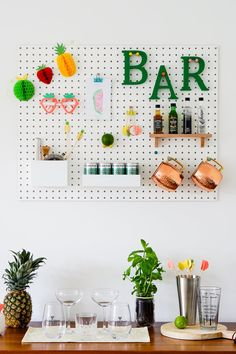 Creating a Totally Tropical 'Mini Bar' using Peg board by The Ordinary Lovely