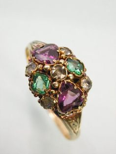 Beautiful Victorian Gold Suffragette Ring - green stood for hope, white for purity and purple for dignity.