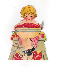 Vintage 1930's Honey Comb Valentine Card Little Girl Bowl Cherries Greeting Card | eBay