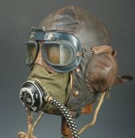 WWII RAF Fighter Pilot Headgear Display circa 1940