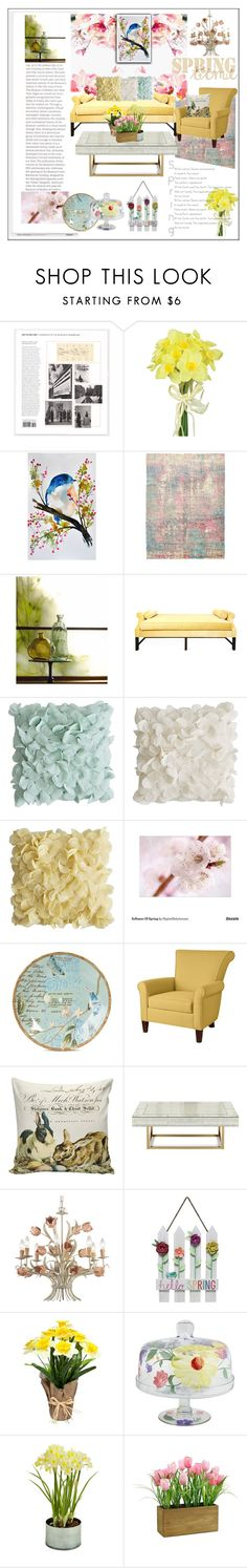 """""""Spring Florals to Brighten Our Rooms"""" by frenchfriesblackmg on Polyvore featuring interior, interiors, interior design, home, home decor, interior decorating, Pavilion Broadway, Ashbury, Kristin Drohan Collection and Pier 1 Imports"""