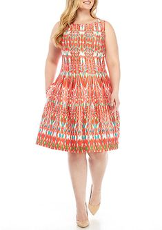 85af6c7f914 Gabby Skye Women s Plus Size Sleeveless Printed Fit-And-Flare Dress