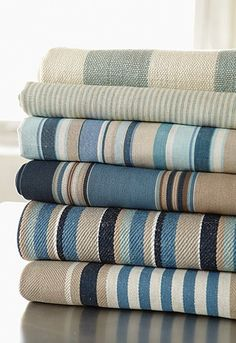 Sea Island Stripes by Schumacher - a great range of textiles in a range of wonderful coastal colour options too.
