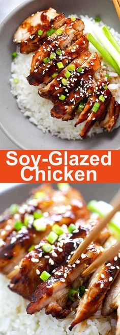 Love to taste this Soy-Glazed Chicken. This would be the best soy-glazed chicken recipe ever. Made with soy sauce, honey and rice vinegar, this sticky and savory chicken is crazy good Best Chicken Recipes, Turkey Recipes, Asian Recipes, New Recipes, Cooking Recipes, Favorite Recipes, Healthy Recipes, Recipe Chicken, Chicken Recipes For Dinner
