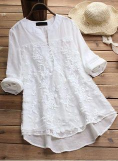 Shop Floryday for affordable Tops. Floryday offers latest ladies' Tops collections to fit every occasion. Plus Size Coats, Blouse Online, Plus Size Blouses, Blouse Styles, Women's Fashion Dresses, Fashion Blouses, Shirt Blouses, Tunic Blouse, Blouses For Women