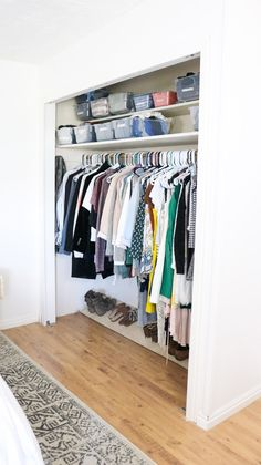 DIY CLOSET DOORS FOR UNDER $50 - Tight Budget? No problem! Diy Closet Doors, Wooden Closet, Closet Bedroom, Hall Closet, Gray Bedroom, Diy Home Furniture, Diy Furniture Projects, Entryway Storage Cabinet, New Mobile Homes