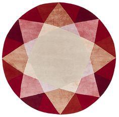 Tapis noué en laine et soie naturelle, Ruby (Deirdre Dyson)
