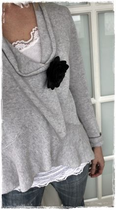 ❥ Soft grey sweater with flower pin, lacey white undershirt - cut up an old sweatshirt!