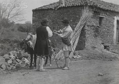 Two men and a donkey outside of a roadside inn-Fred Boissonnas Old Pictures, Old Photos, Greece Photography, Two Men, Athens Greece, Photo Library, Royalty Free Photos, National Geographic, The Outsiders