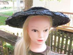Woven Straw Wide Brim Hat, Kathryn Hepburn Style By Carol Ann, Velvet Ribbon Trim, by Junkblossoms on Etsy