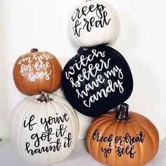 Decorative pun-kin : witch better have my candy This black craft pumpkin is hand lettered with acrylic paint. Perfect for home decor in the fall or halloween party decorations! Dimensions: 9 inches tall and wide – decoration Halloween Party Decor, Halloween Snacks, Halloween Cupcakes, Holidays Halloween, Halloween Crafts, Happy Halloween, Halloween Sayings, Halloween Puns, Halloween Captions