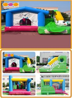 AQ07164 (4*4*2M  13.12'*13.12'*6.56') Cute dog inflatable bouncer house combines funny slide.Enjoy your time with us, come on!