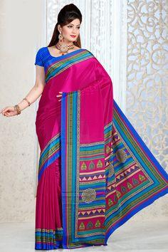Pink Color Designer Printed Saree Online From Hdbazaar. Saree Jewellery, Party Wear Sarees Online, Printed Sarees, Pink Color, Pink Blue, Buy Prints, Indian Sarees, Saree Blouse, Indian Fashion