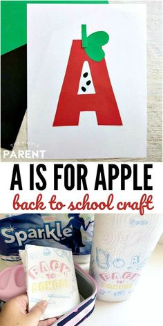 A for Apple Craft - This letter of the week craft is perfect for preschool and kindergarten. Turn letters into art and practice fine motor skills! Craft Projects For Adults, Diy Crafts For Teens, Holiday Crafts For Kids, Crafts For Kids To Make, Craft Ideas, Painting Activities, Kids Learning Activities, Alphabet Activities, Easy Preschool Crafts