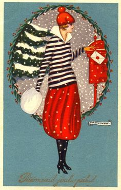 Woman in Striped Shirt and Red Skirt Mailing Envelope Bonne Annee Art Deco Illustration, Christmas Illustration, Christmas Journal, Noel Christmas, Retro Christmas, Vintage Christmas Images, Antique Christmas, Primitive Christmas, Country Christmas