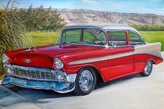 Vintage Cars Classic CUSTOM classic car original oil painting old antique car auto chevrolet - Custom Classic Cars, Classic Chevy Trucks, Best Classic Cars, Custom Cars, Retro Cars, Vintage Cars, Antique Cars, Car Illustration, Illustrations