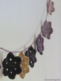 tuto video guirlande fleur au crochet +EDIT