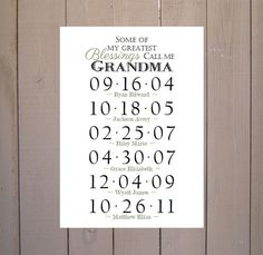 GRANDMA GIFT Grandchildren Birthday Dates By PoppyseedPrints 1300 Craft Gifts Diy Christmas