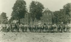 Groundbreaking for the Greenwood High School in the 1920s.  This is just one of the many interesting items about Greenwood Indiana history at the Johnson County Museum.