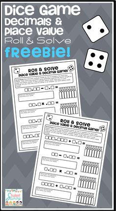 FREE TEACHING RESOURCE - Dice Game - Decimals & Place Value - Roll & Solve!