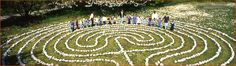 how to make a labyrinth - Labyrinth society. This would be awesome done with electric tealights on a small scale.